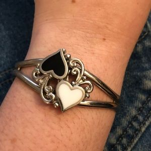 Vintage heart enamel cuff
